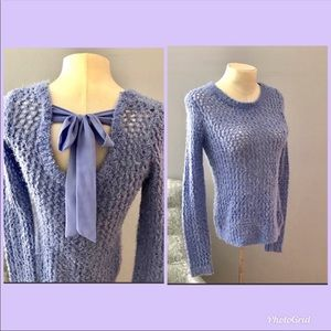 Delias open knit sweater size S cornflower blue